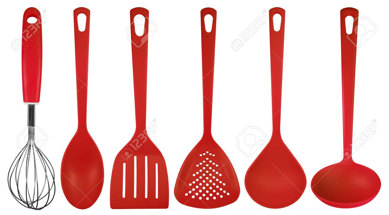Red Plastic Kitchen Utensils Isolated On White. Clipping Path Included.  Stock Photo   55296659