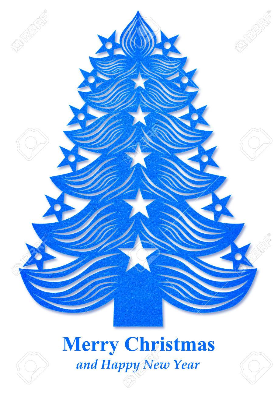 Dark Blue Christmas Tree Made Of Paper On White Background Stock Photo Picture And Royalty Free Image Image 64859351