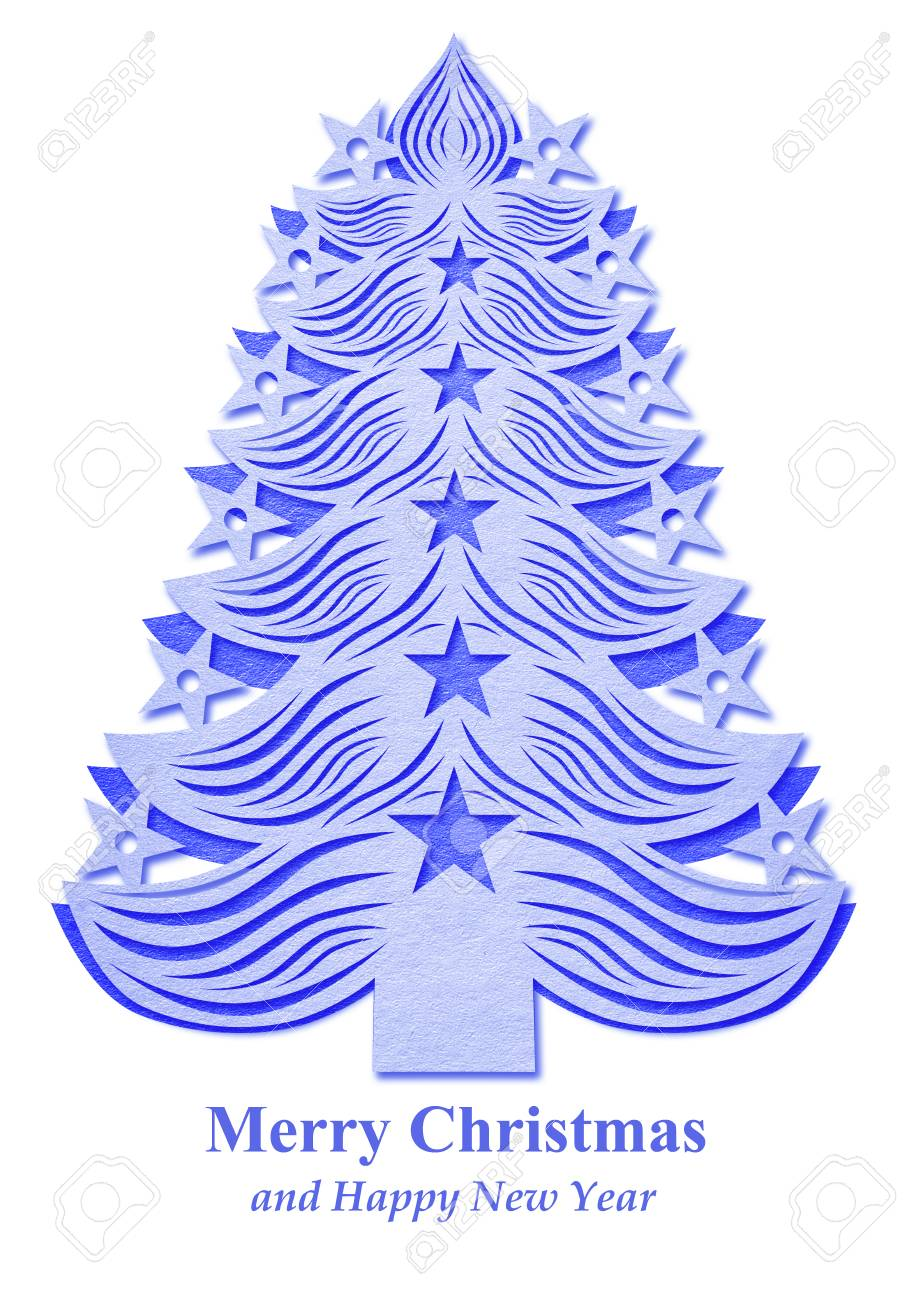 Dark Blue Christmas Tree Made Of Paper On White Background Stock Photo Picture And Royalty Free Image Image 64859090