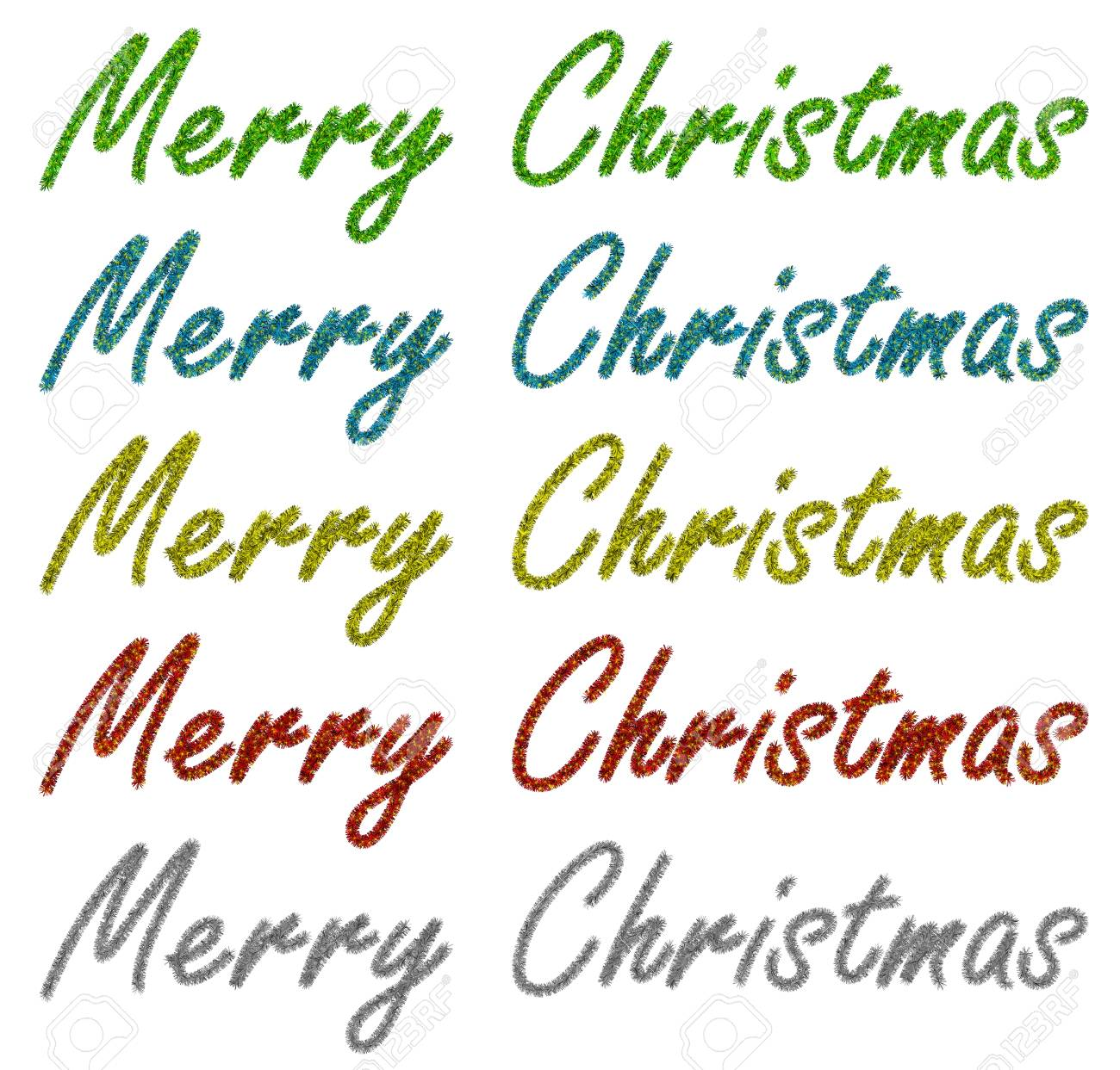 Set Of Garlands Of Tinsel With Merry Christmas Words Stock Photo ...