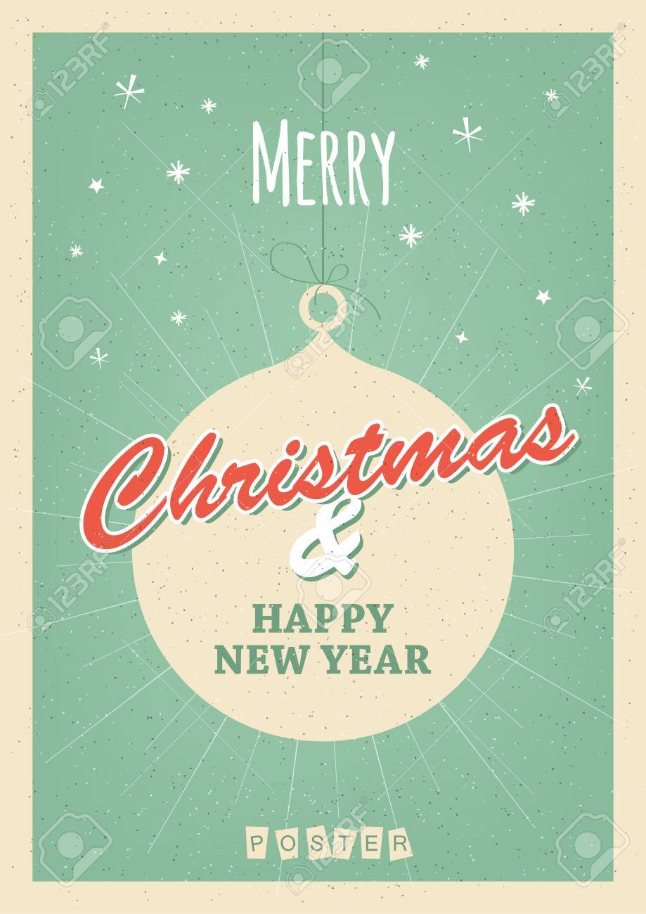 Retro Christmas Poster Or Postcard Royalty Free Cliparts Vectors