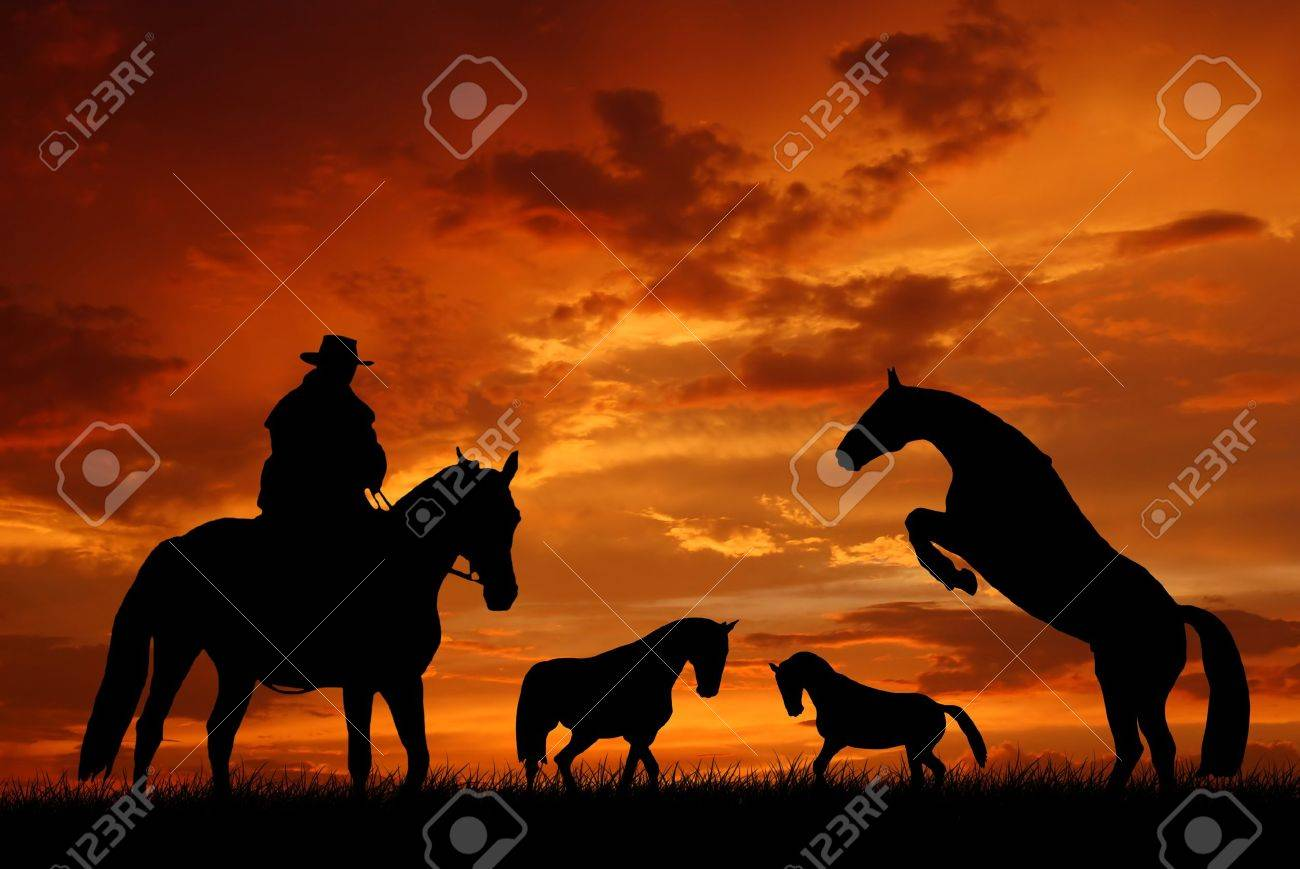 Western Horse Silhouettes Silhouette Cowboy With Horses