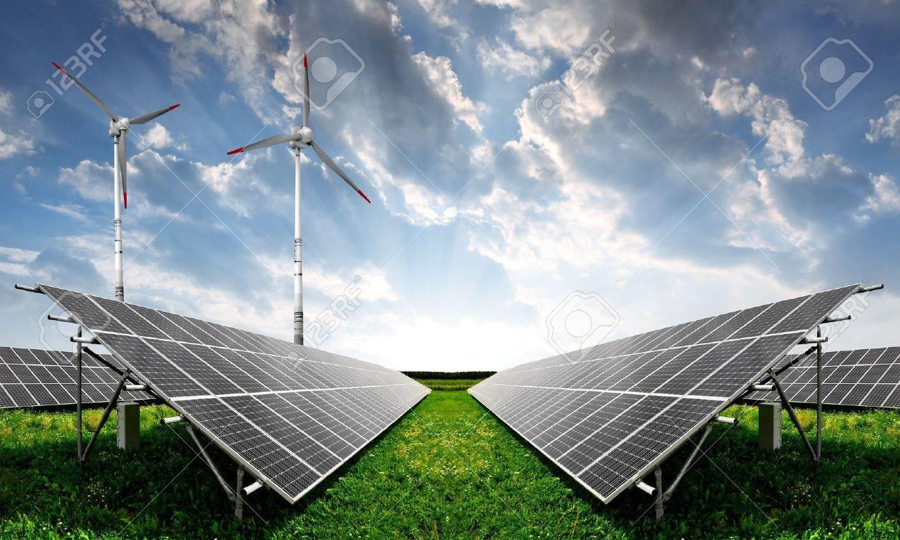 solar energy panels and wind turbine Standard-Bild - 11875602