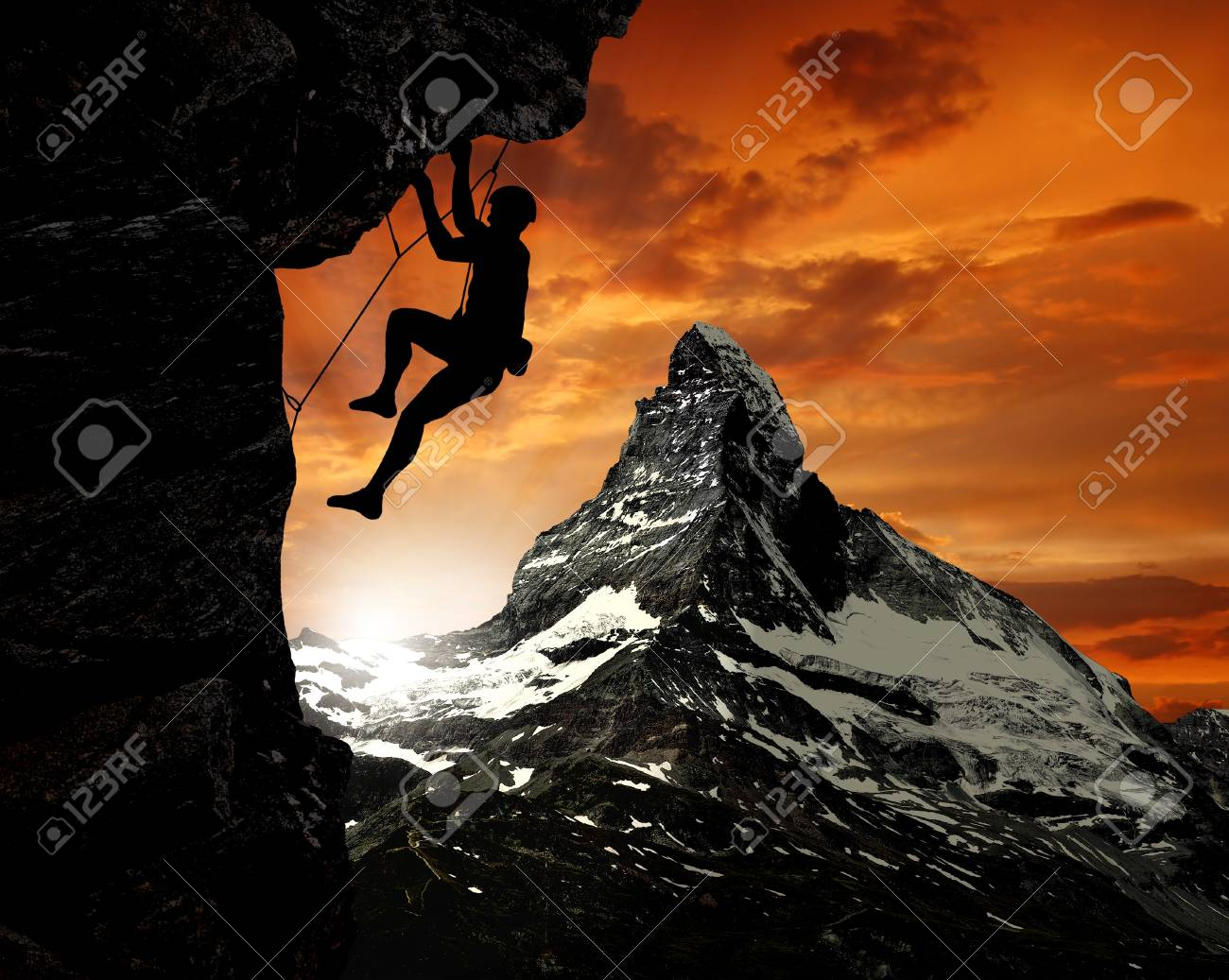 climbers in the Swiss Alps Stock Photo - 11989119