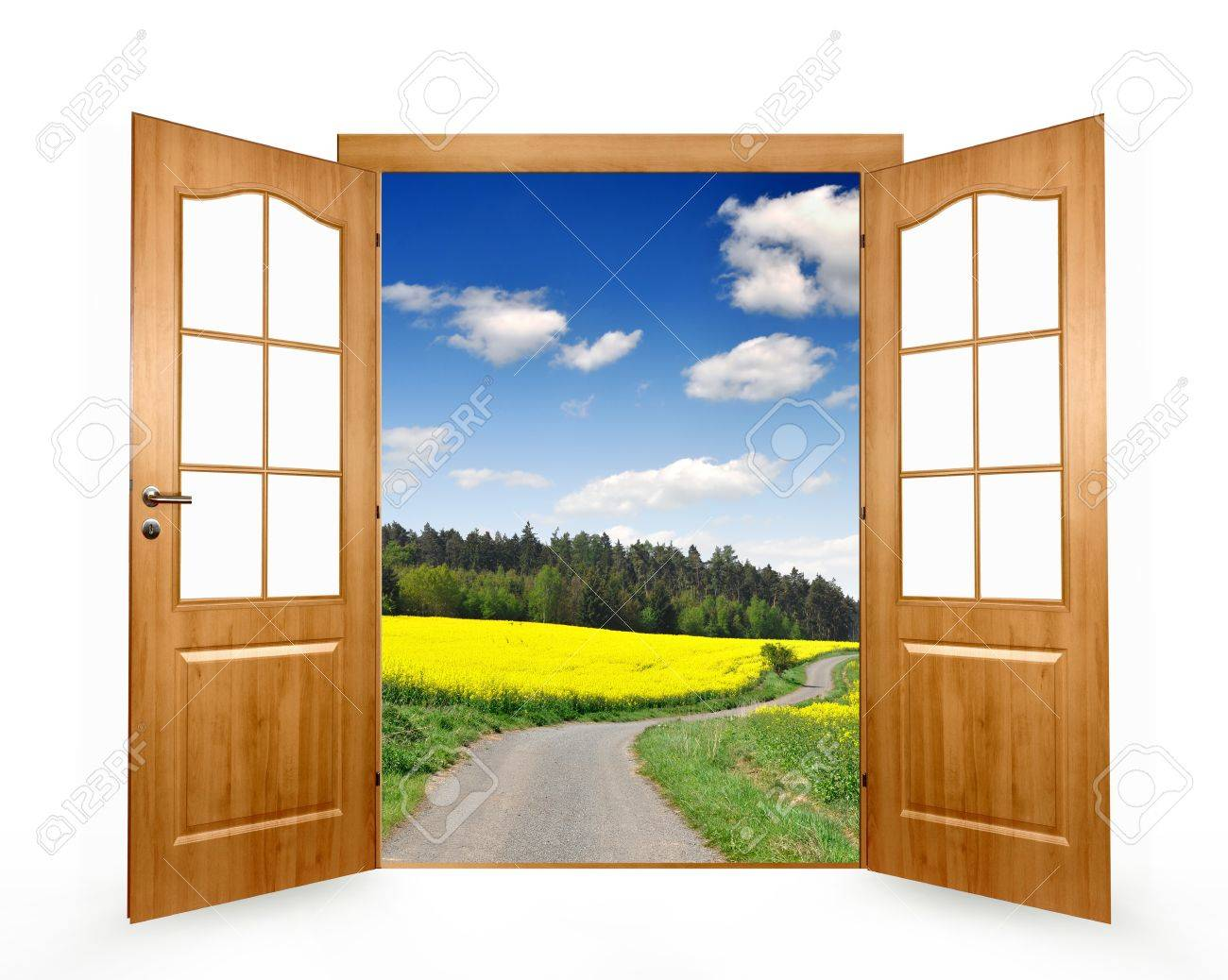 Open door on a white background Stock Photo - 12417231