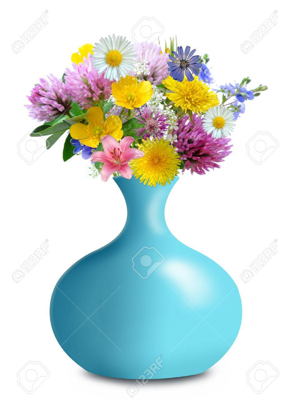 meadow flowers in blue vase isolated on white background Stock Photo - 13114692