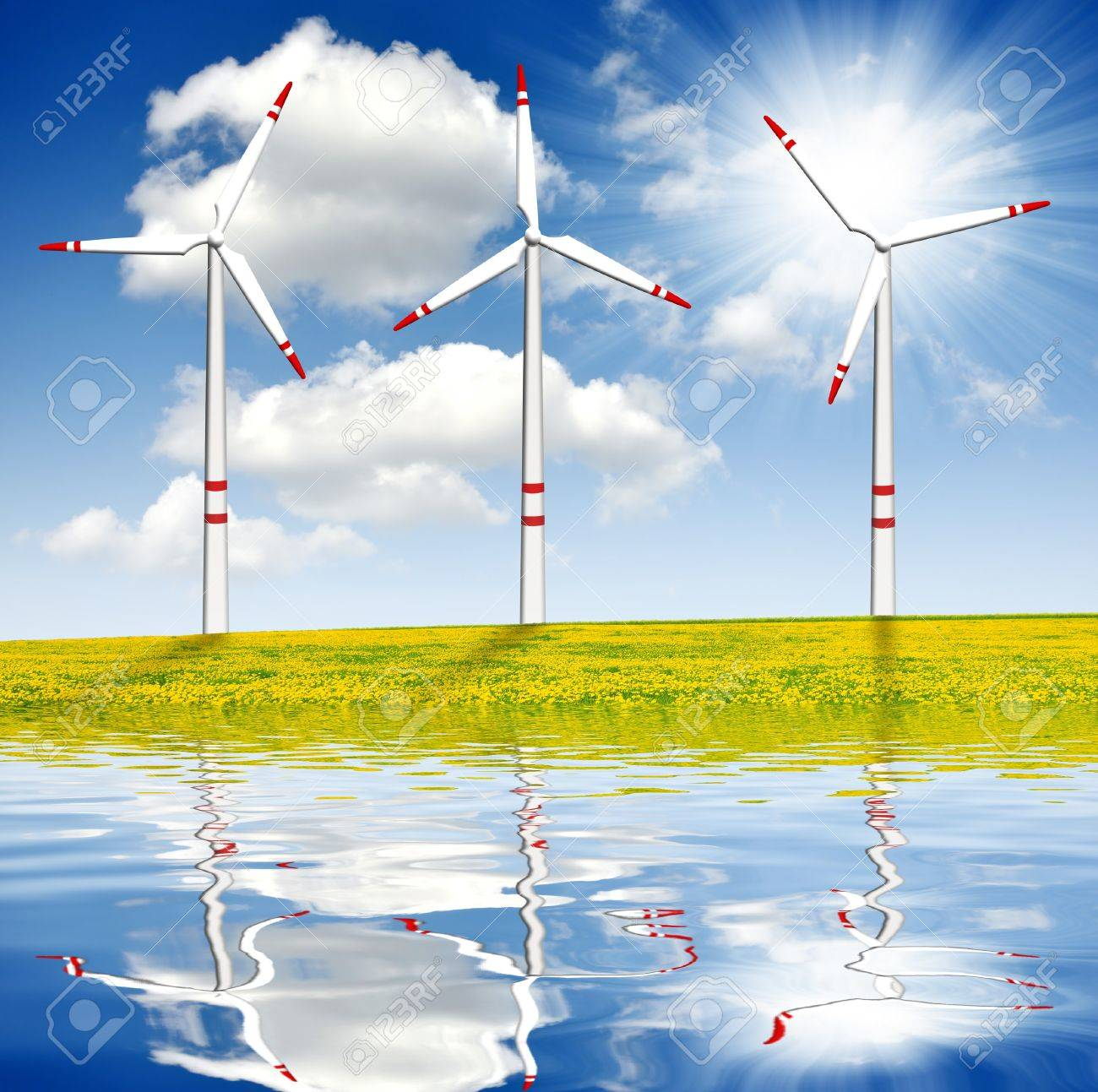 spring landscape with wind turbines - 14367127