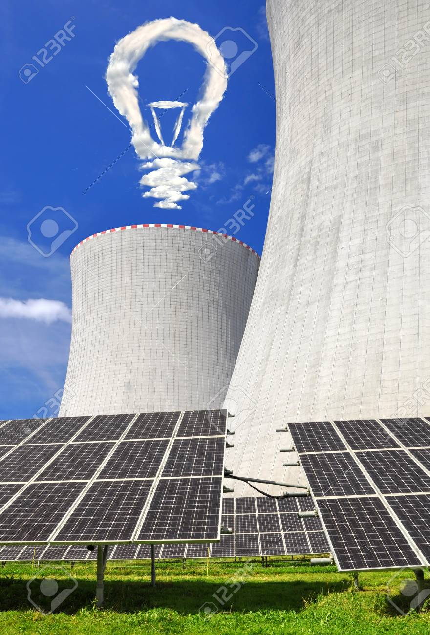 Solar energy panels before a nuclear power plant Stock Photo - 14828710