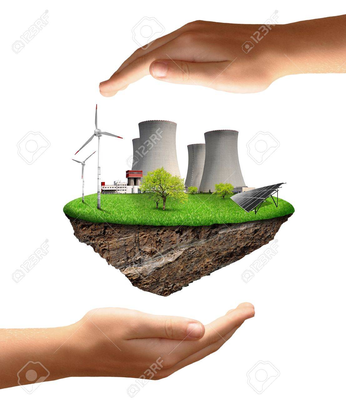 Little island with nuclear power plant , wind turbines and solar panel Stock Photo - 15419868