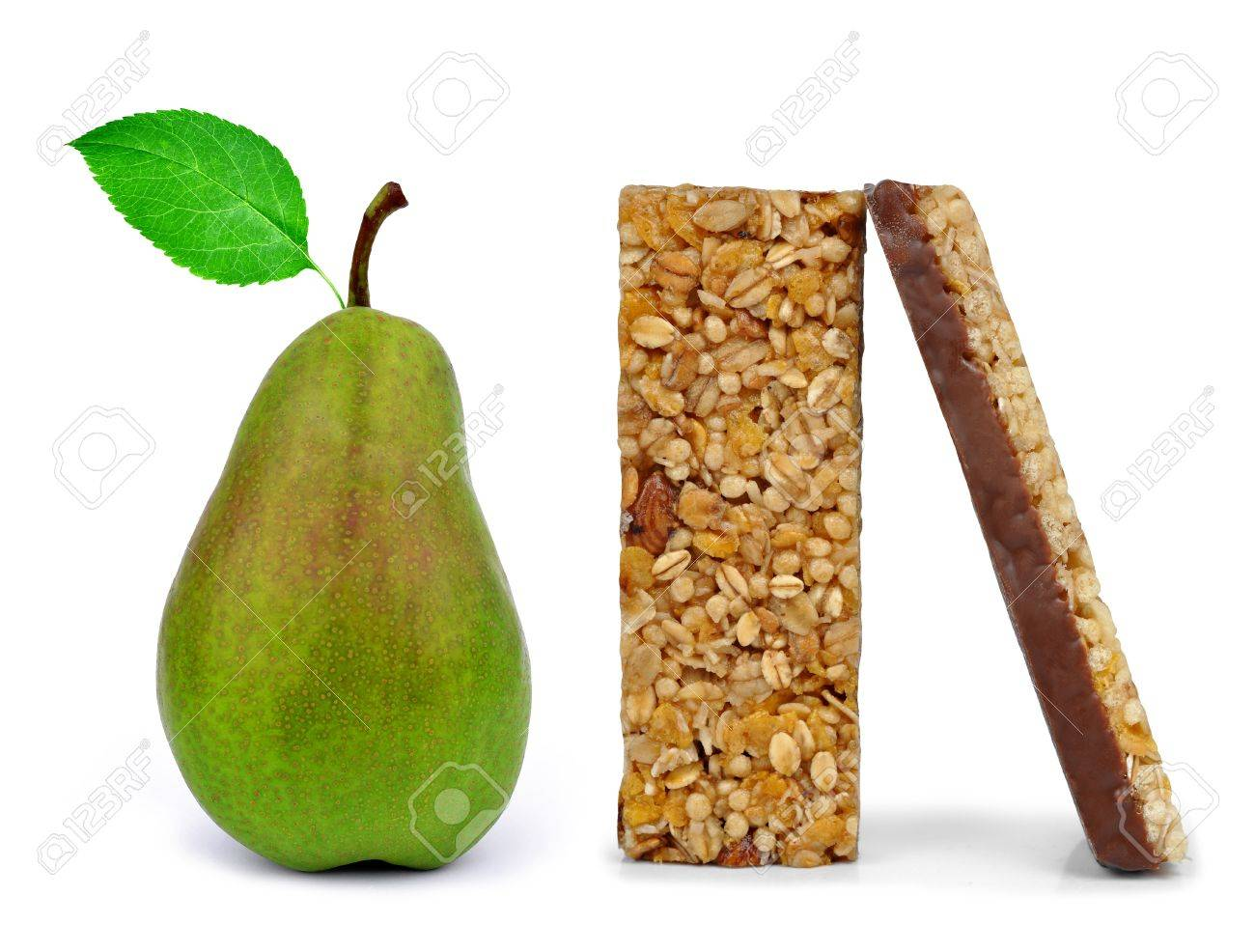 Chocolate Muesli Bars with pear isolated on white background Stock Photo - 15839581