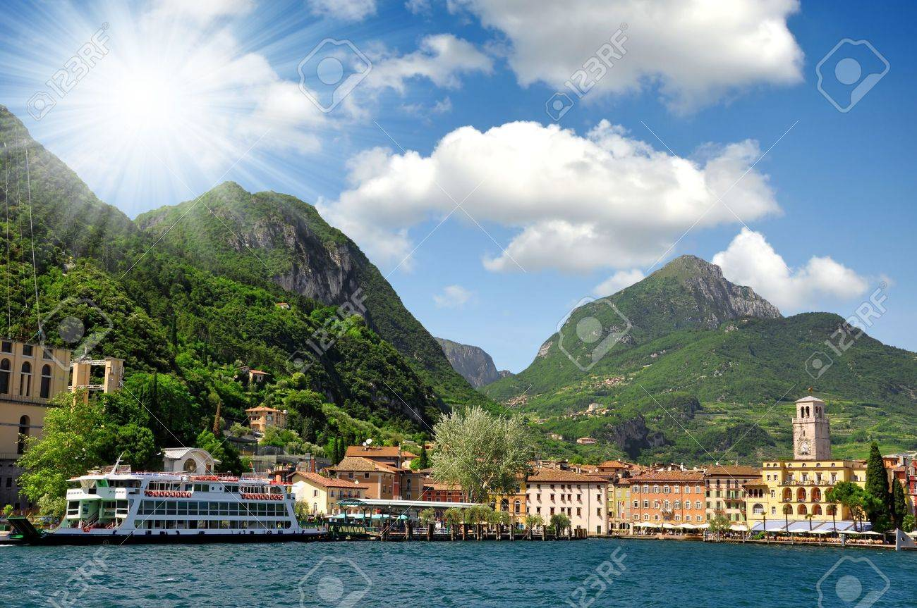the city of Riva del Garda, situated in the northern part of the largest Italian lake, Lago di Garda - 17765804