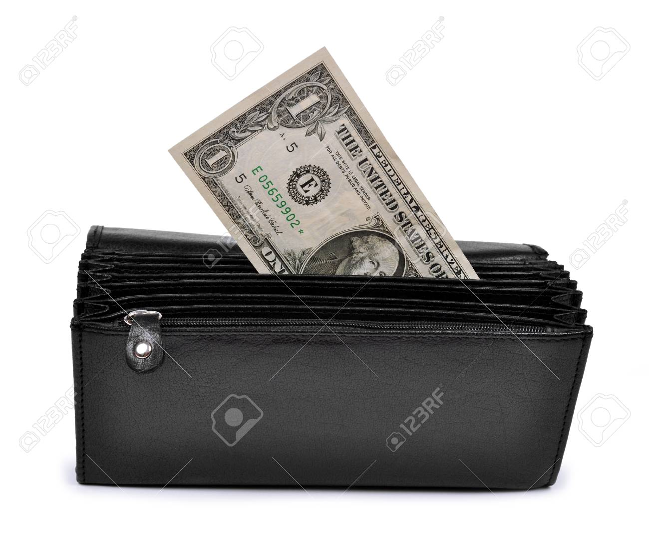 dollar in  purse isolated on white Stock Photo - 18461841