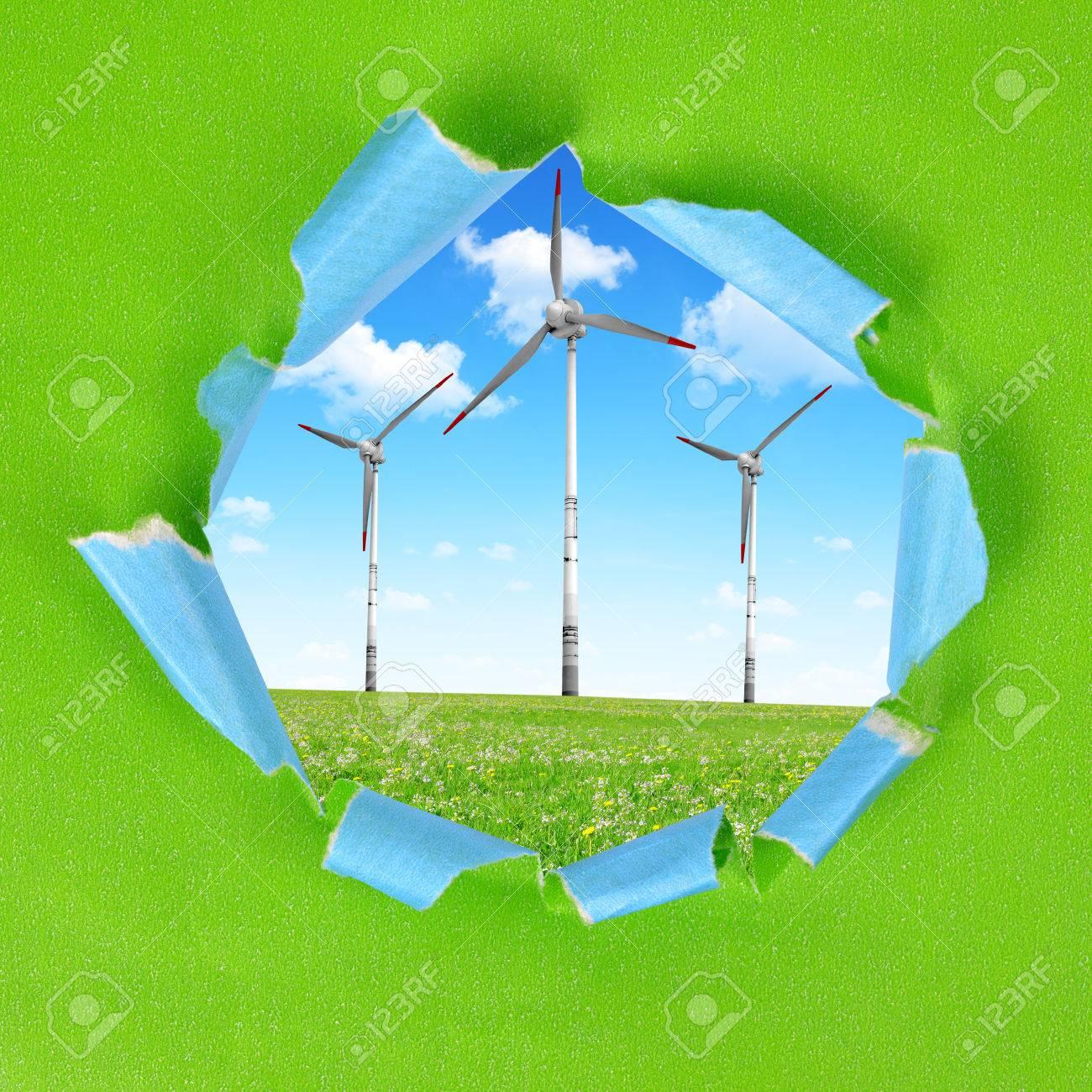 Der Rahmen Des Grünbuchs. Auf Dem Hintergrund Windkraftanlagen ...