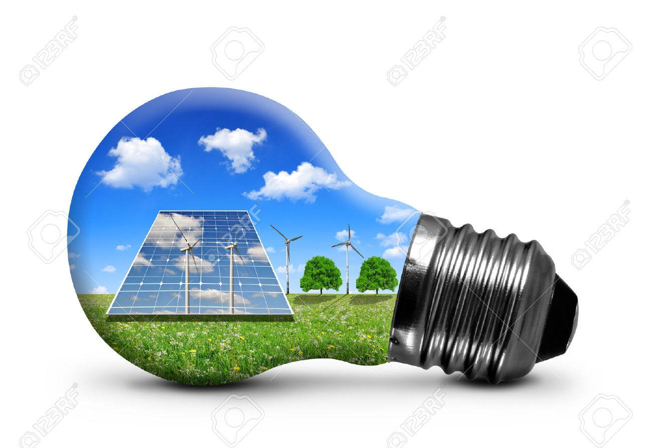 Solar panels and wind turbines in light bulb isolated on white
