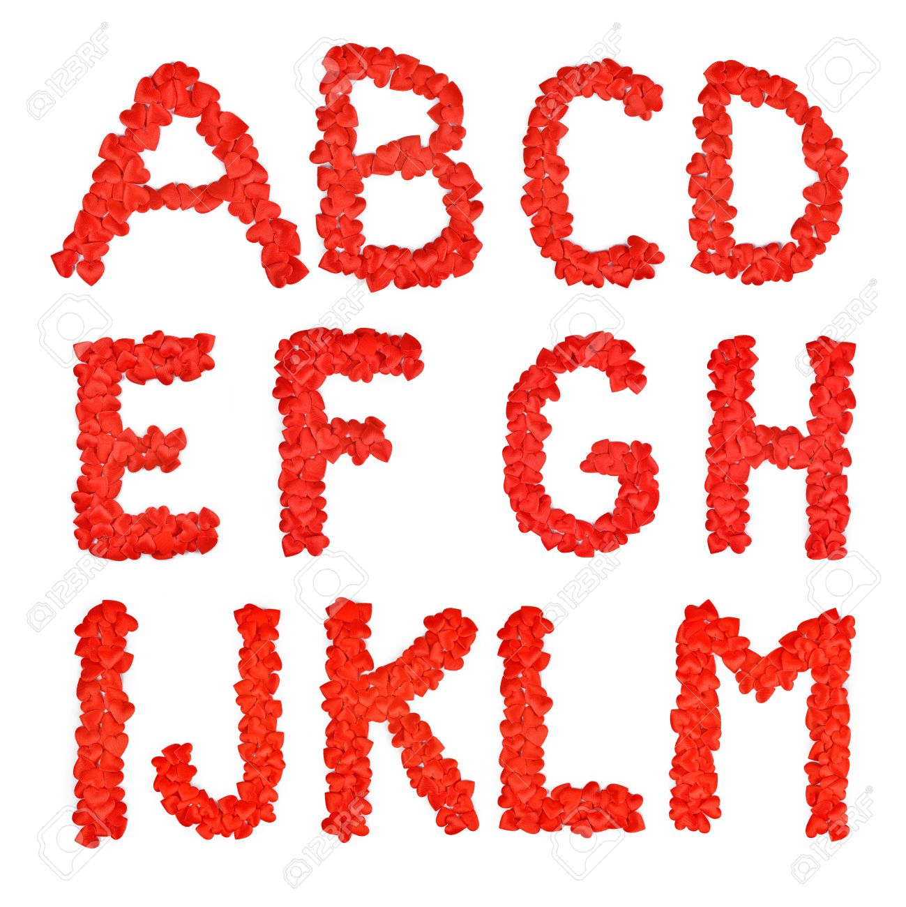 Red Heart Font A Lot Of Hearts In The Form Letters B C D E F G H I J K L M Stock Photo