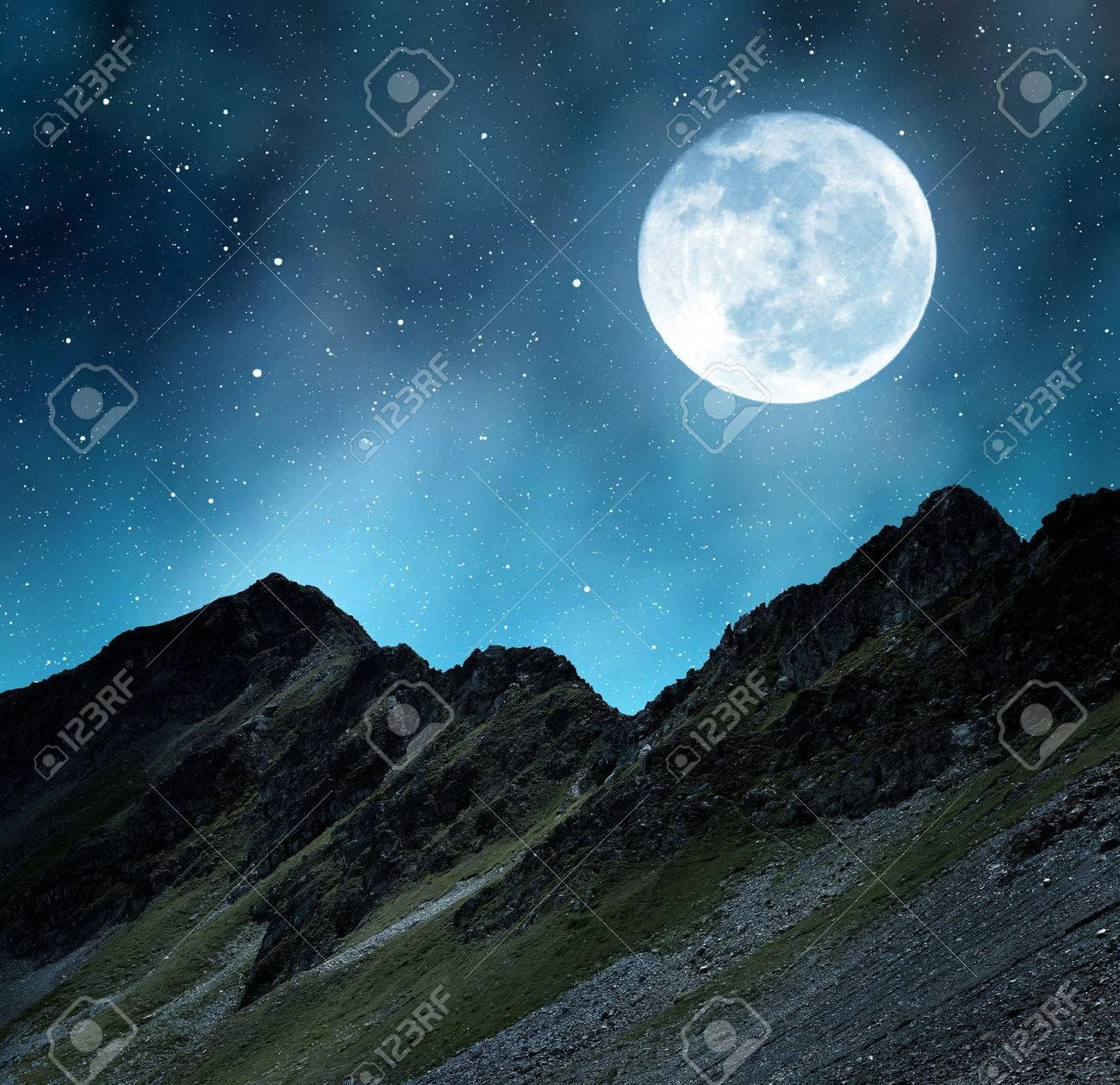 Beautiful alpine landscape near Davos in night. Canton Graubunden, Switzerland - 45512059