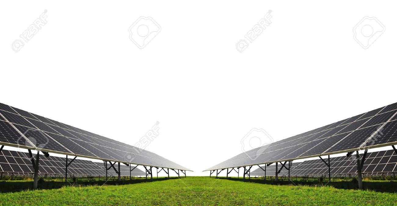 Solar energy panels on white background - 49691373