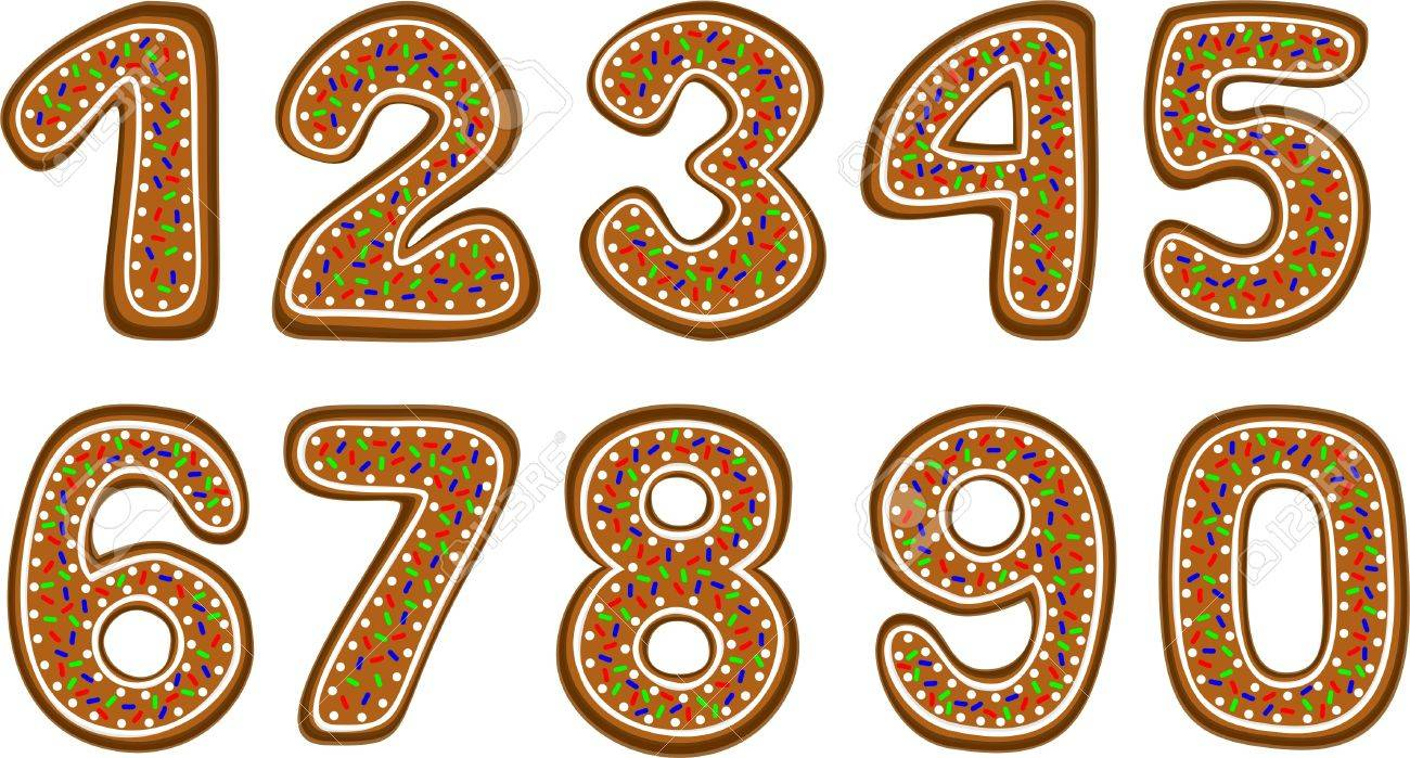 gingerbread numbers Stock Vector - 14742255