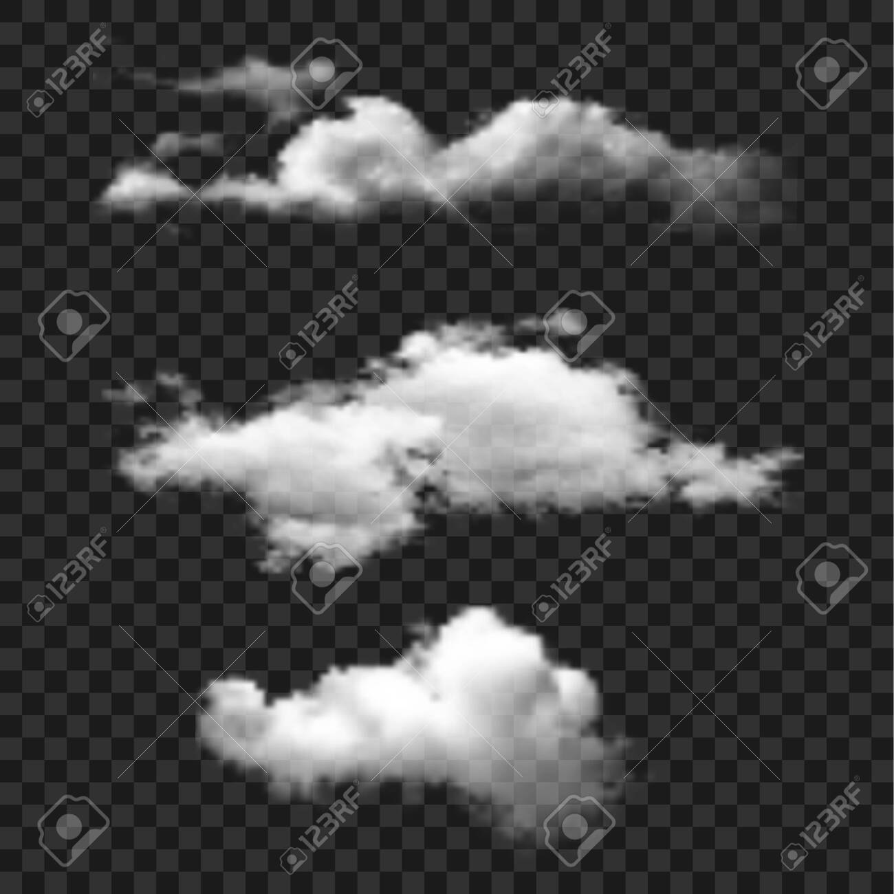 Cloud set vector icon. Clouds on transparent background. Simple isolated illustration. - 138596319