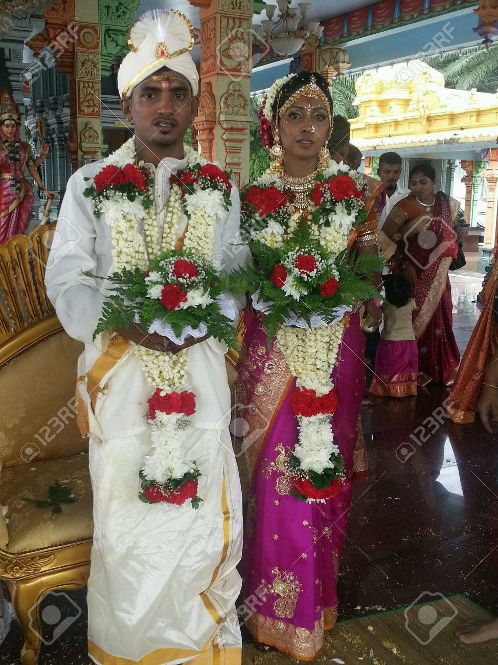 Traditional Wedding Of Indian Couple In Malaysia Stock Photo