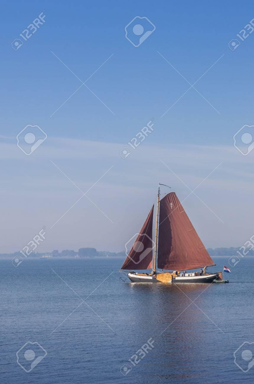 Old Wooden Sailing Boat On The Ijsselmeer Near Hoorn Netherlands
