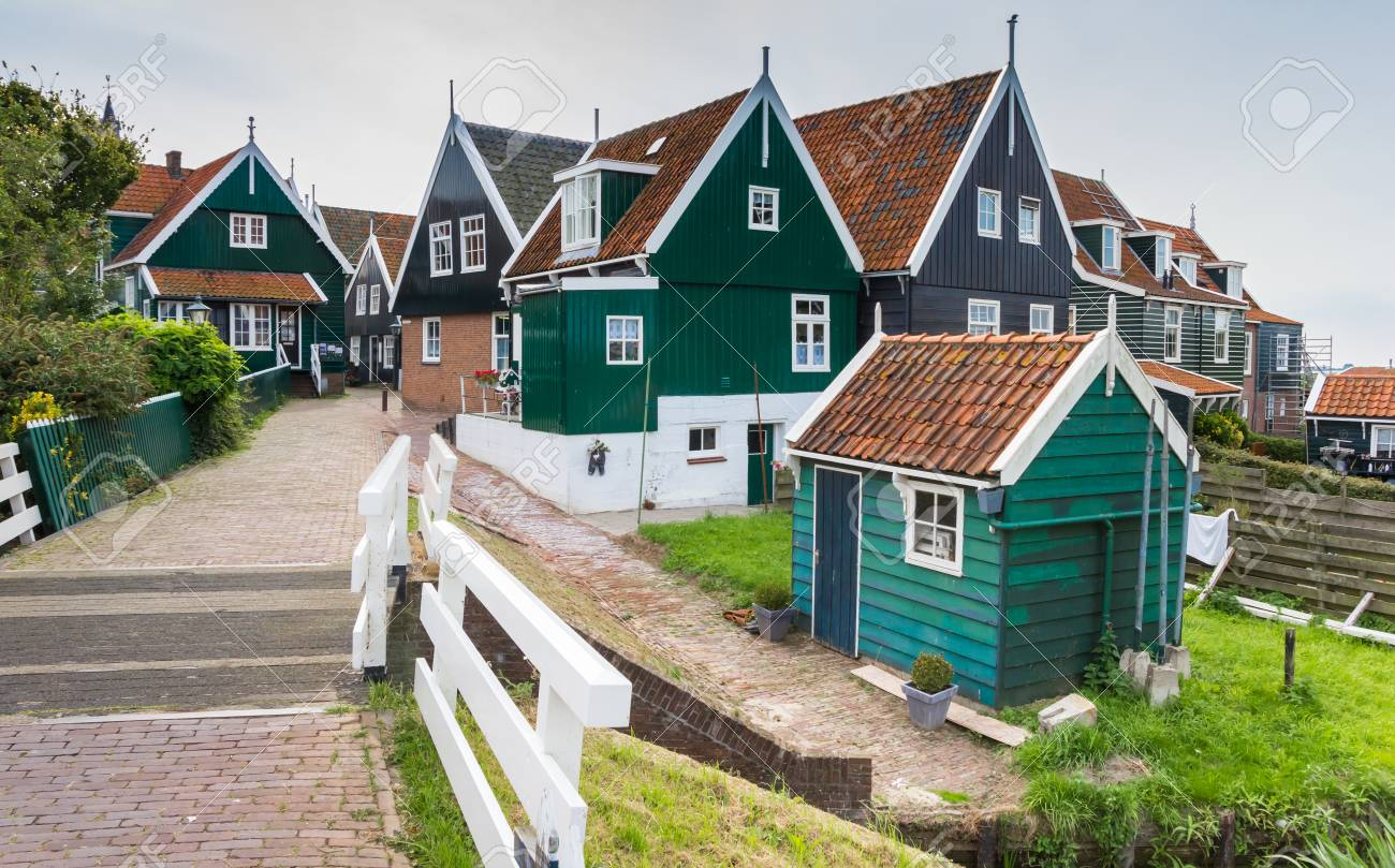 Traditional Dutch Small Wooden Houses In Marken The Netherlands Stock Photo Picture And Royalty Free Image Image 93381866