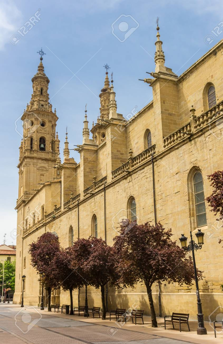 historic redonda cathedral in the center of logrono spain
