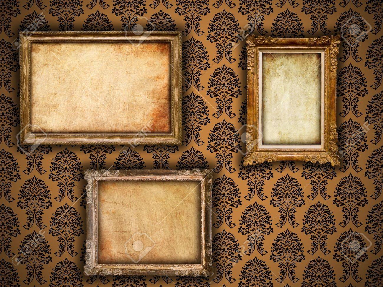 Gilded frames on vintage damask style wallpaper background and gilded frames on vintage damask style wallpaper background and grunge retro paper inserts stock photo jeuxipadfo Gallery