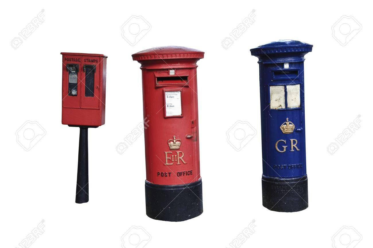 royal mail vintage letter box isolated on white with only blue letter box in uk included