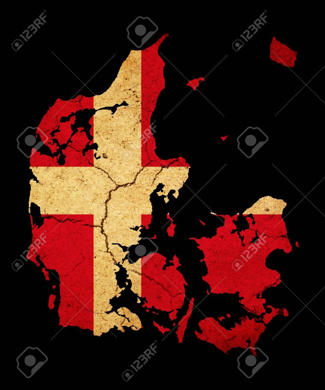 Map outline of Denmark with flag insert grunge effect Stock Photo - 12651379