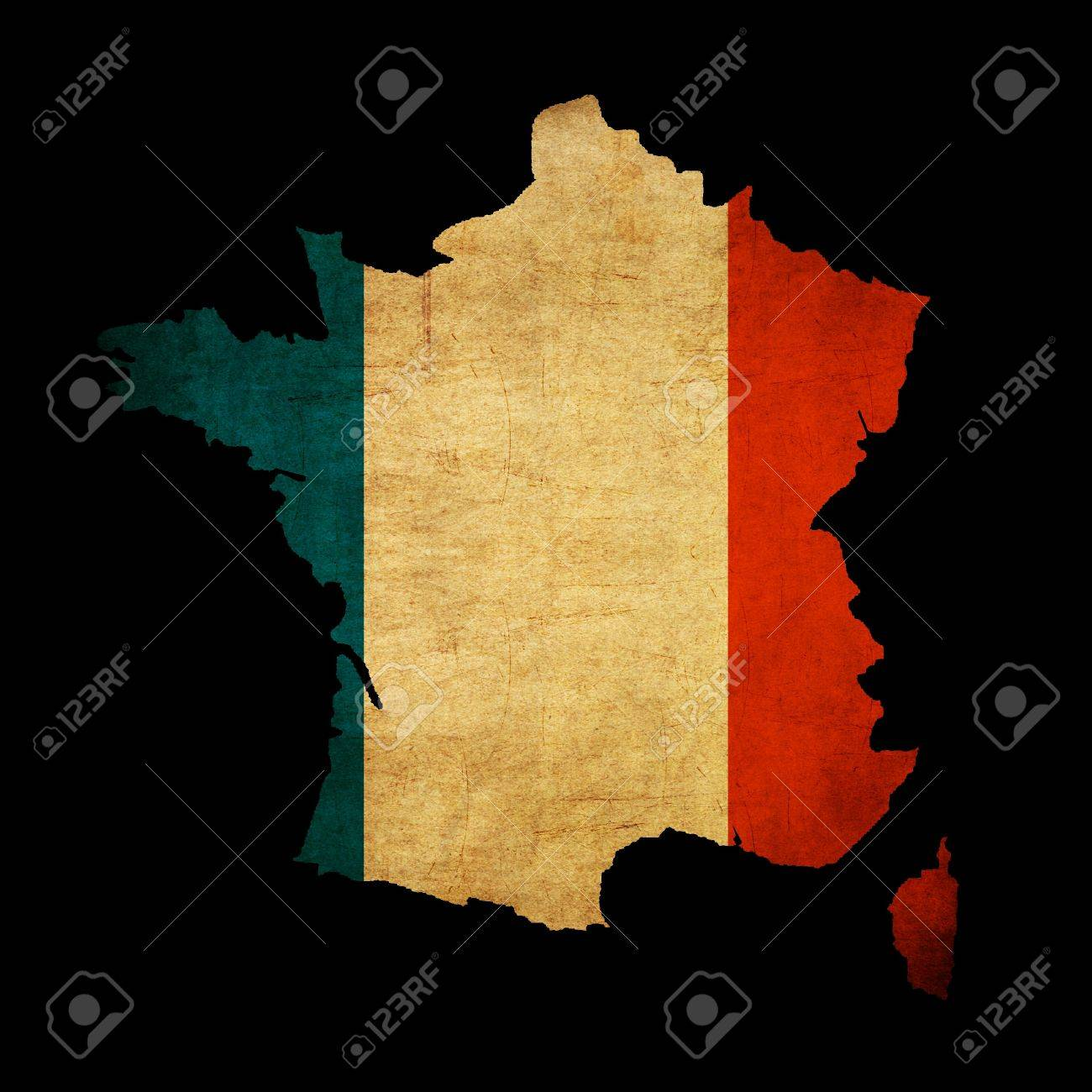 map outline of france with flag insert grunge effect stock photo