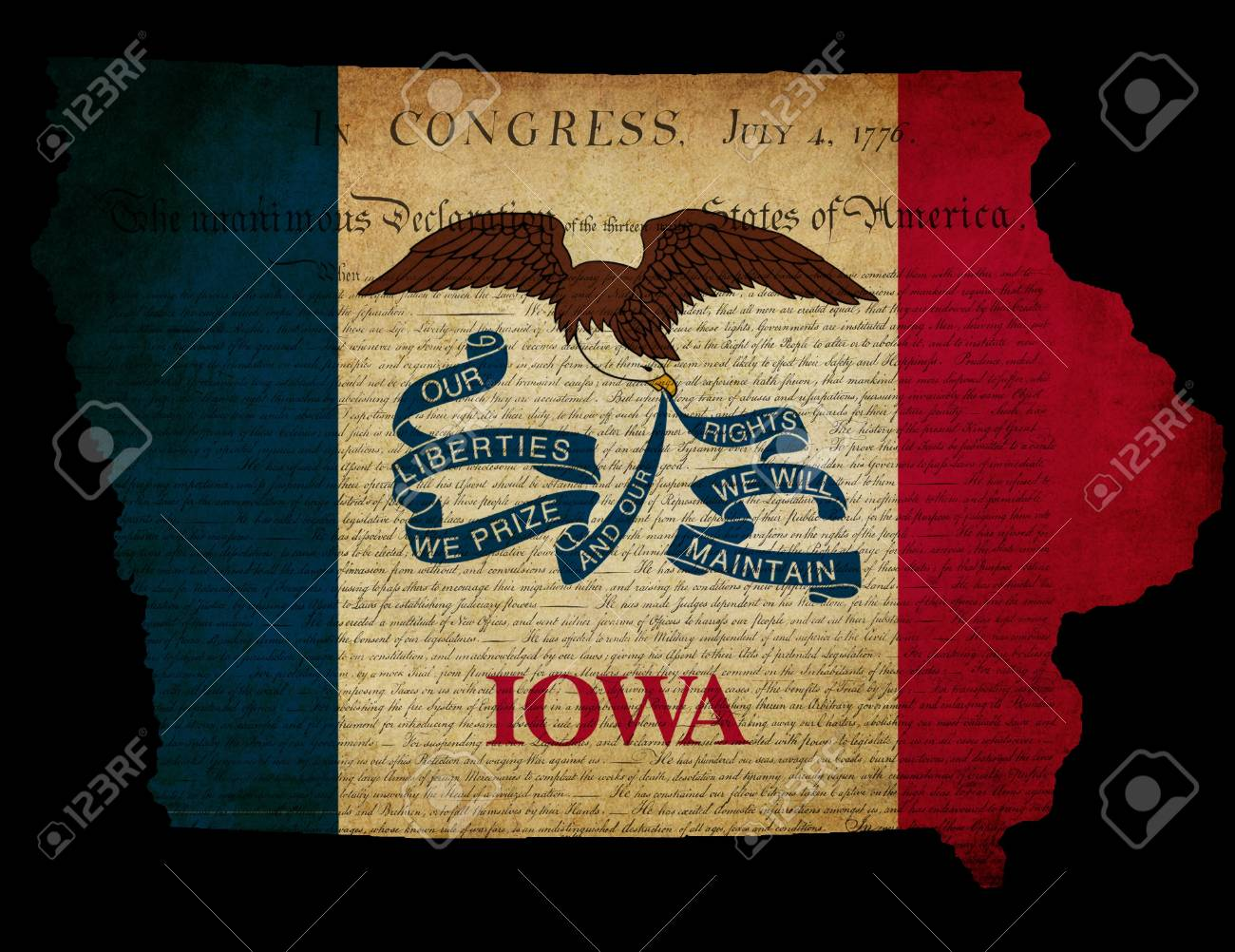 Outline of American USA Iowa state with grunge effect flag insert and overlay of Declaration of Independence document Stock Photo - 13387229