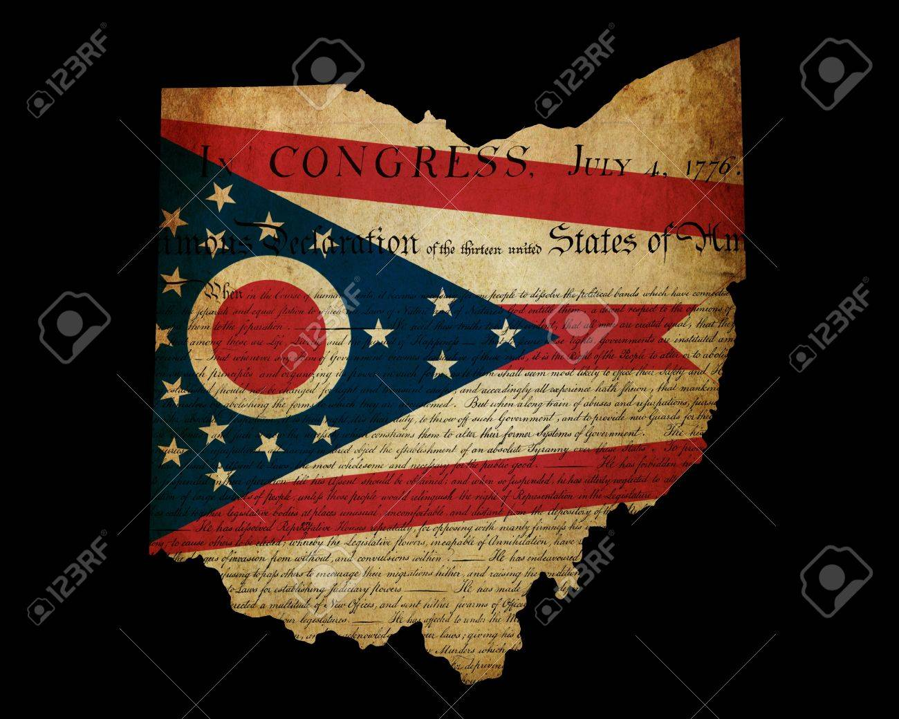 Usa American Ohio State Map Outline With Grunge Effect Flag Insert