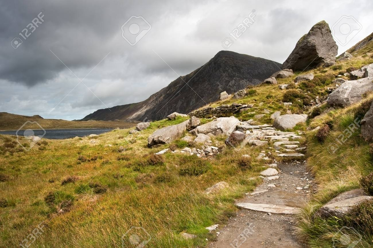 View over Llynn Idwal in Glyderau mountain range in Snowdonia National Park towards Pen-yr-Ole-Wen in distance Stock Photo - 15521817