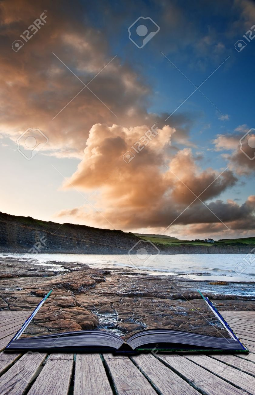 Creative composite image of seascape in pages of magic book Stock Photo - 15661183