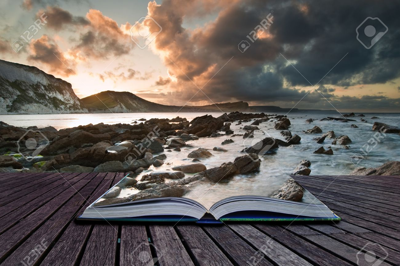 Creative composite image of seascape in pages of magic book Stock Photo - 15661157