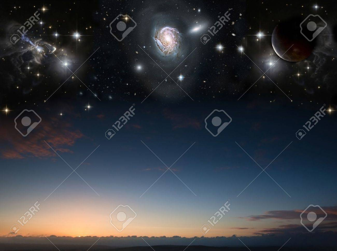 Countryside sunset landscape with planets in night sky Stock Photo - 15661163