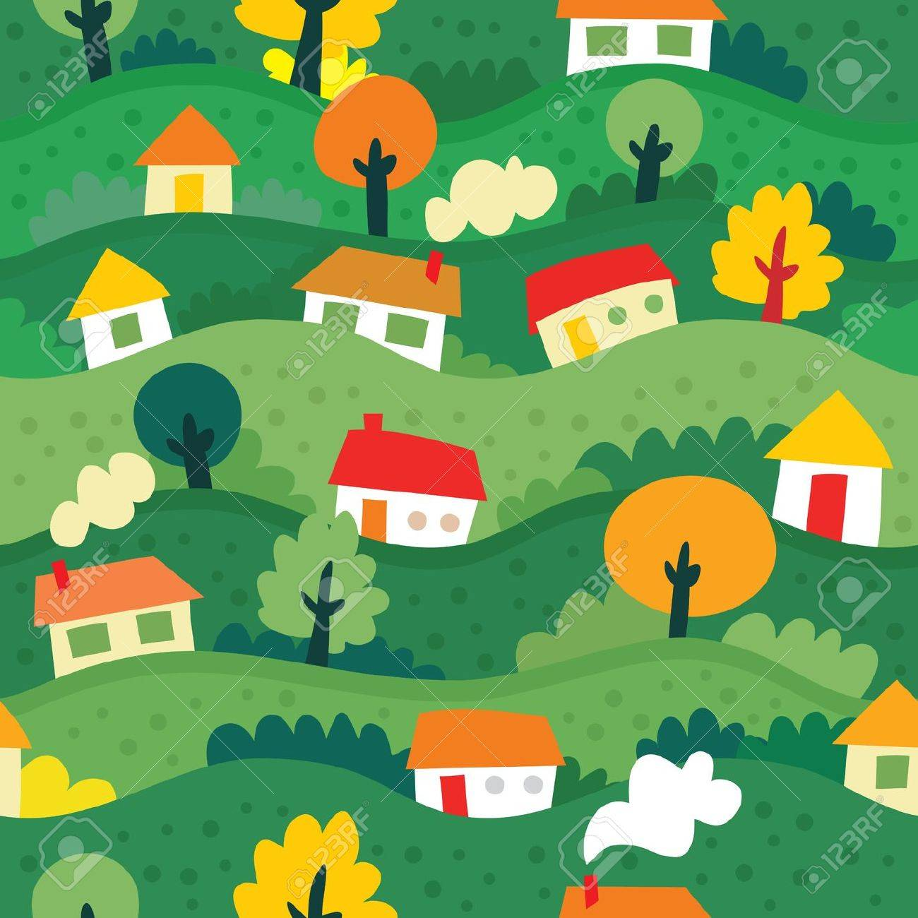 seamless pattern with village and houses - vector illustration Stock Vector - 12091695