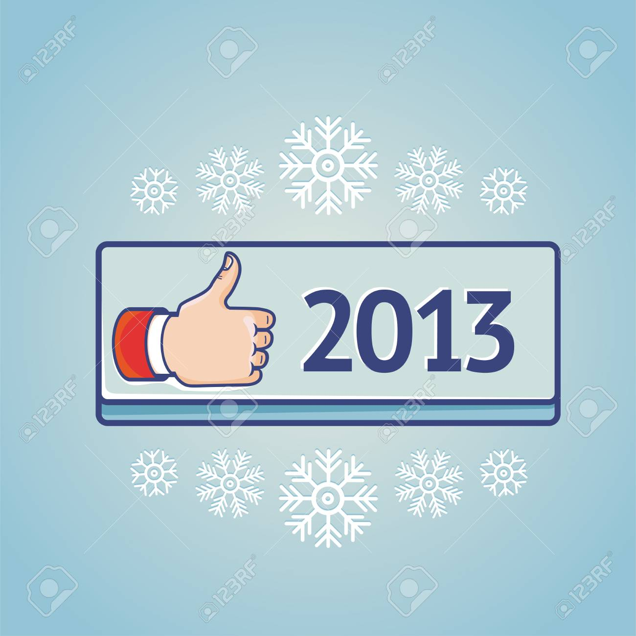 greeting card with like sign on blue button with 2013 - 15755054