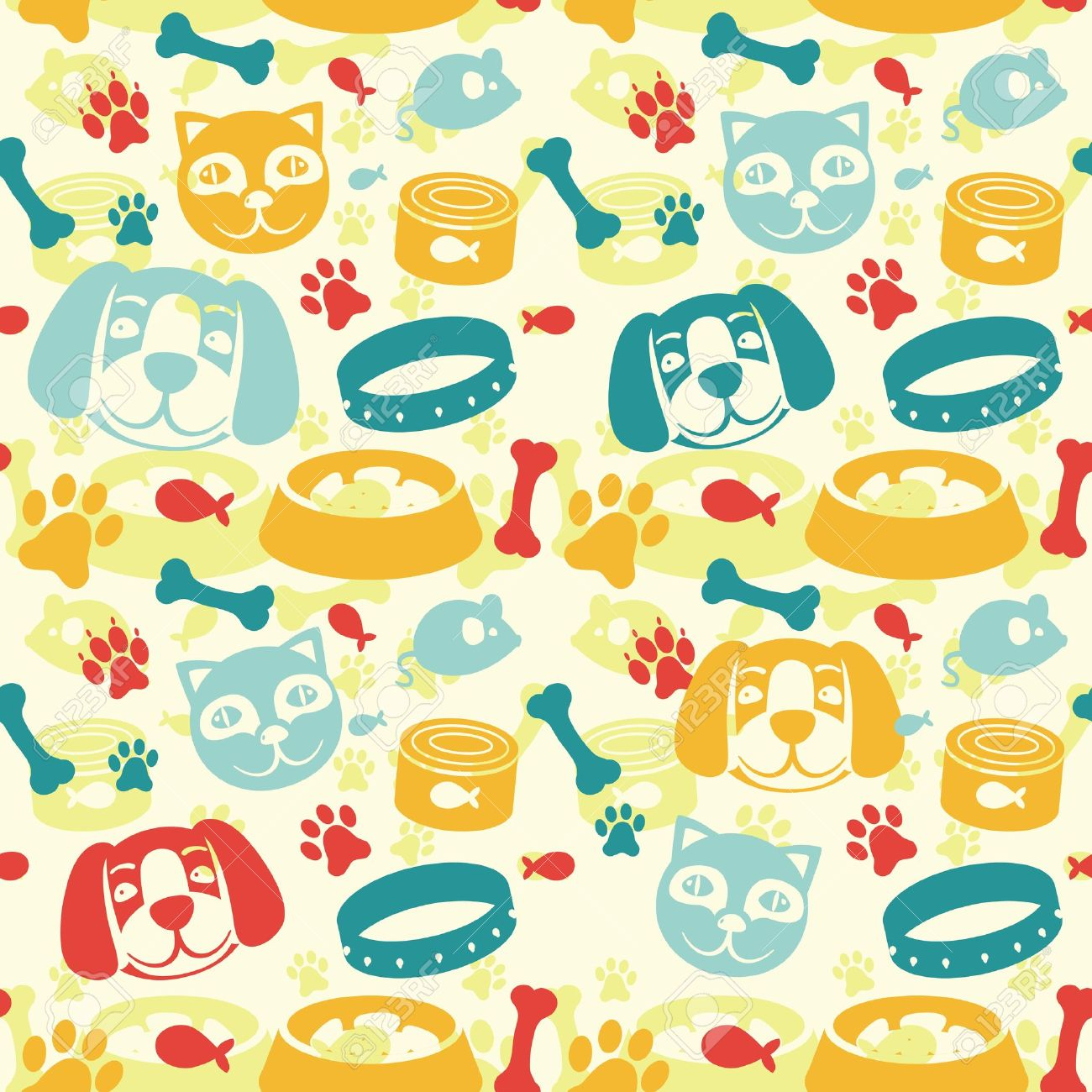 bright seamless pattern with funny cat and dog - vector illustration Stock Vector - 15834664
