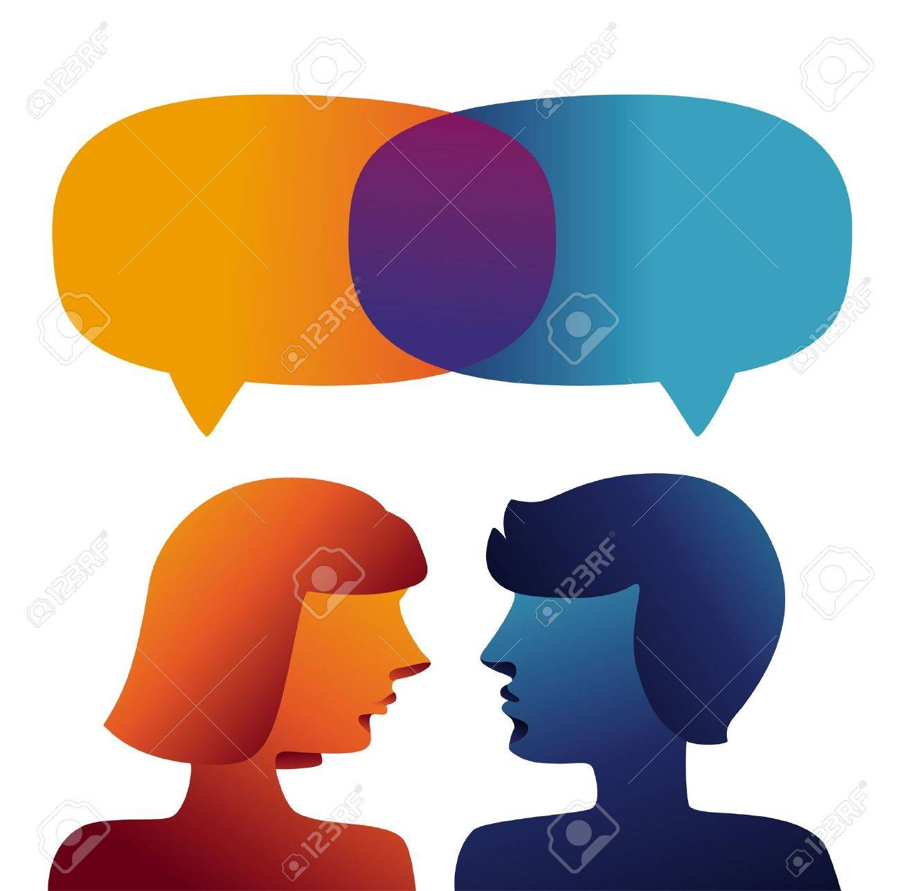 Vector communication concept - man and woman profiles Stock Vector - 15834423