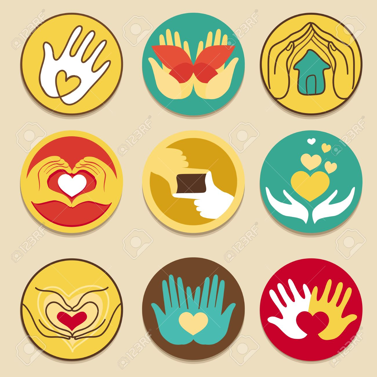 Vector collection of love signs - for charity and hand made - 15834430