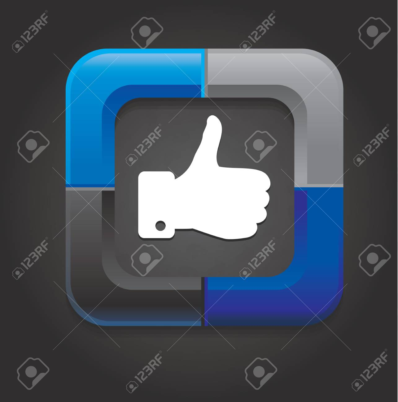 vector social media button with hand on black background Stock Vector - 15870218