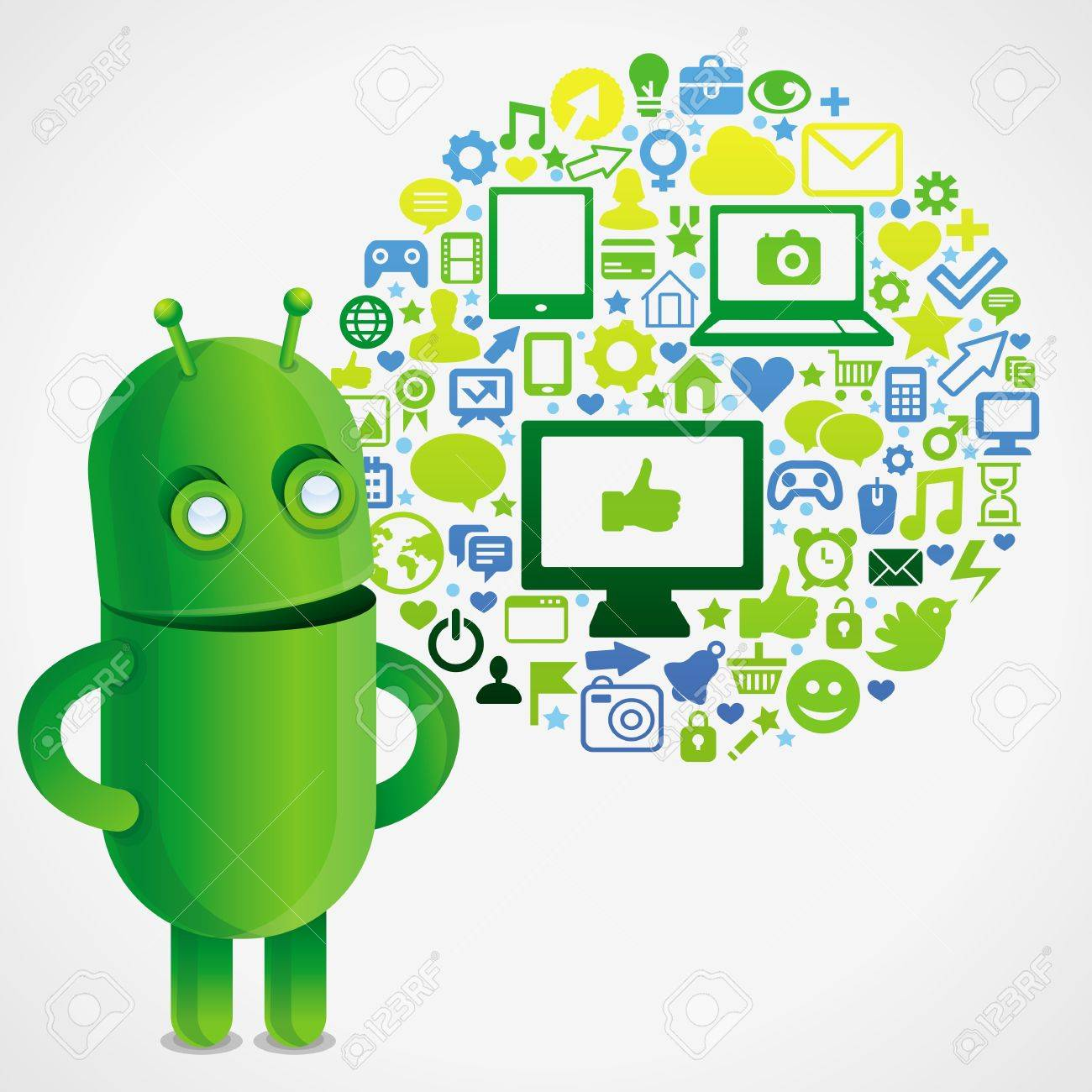 Funny green robot with social media concept  - vector illustration Stock Vector - 15869970