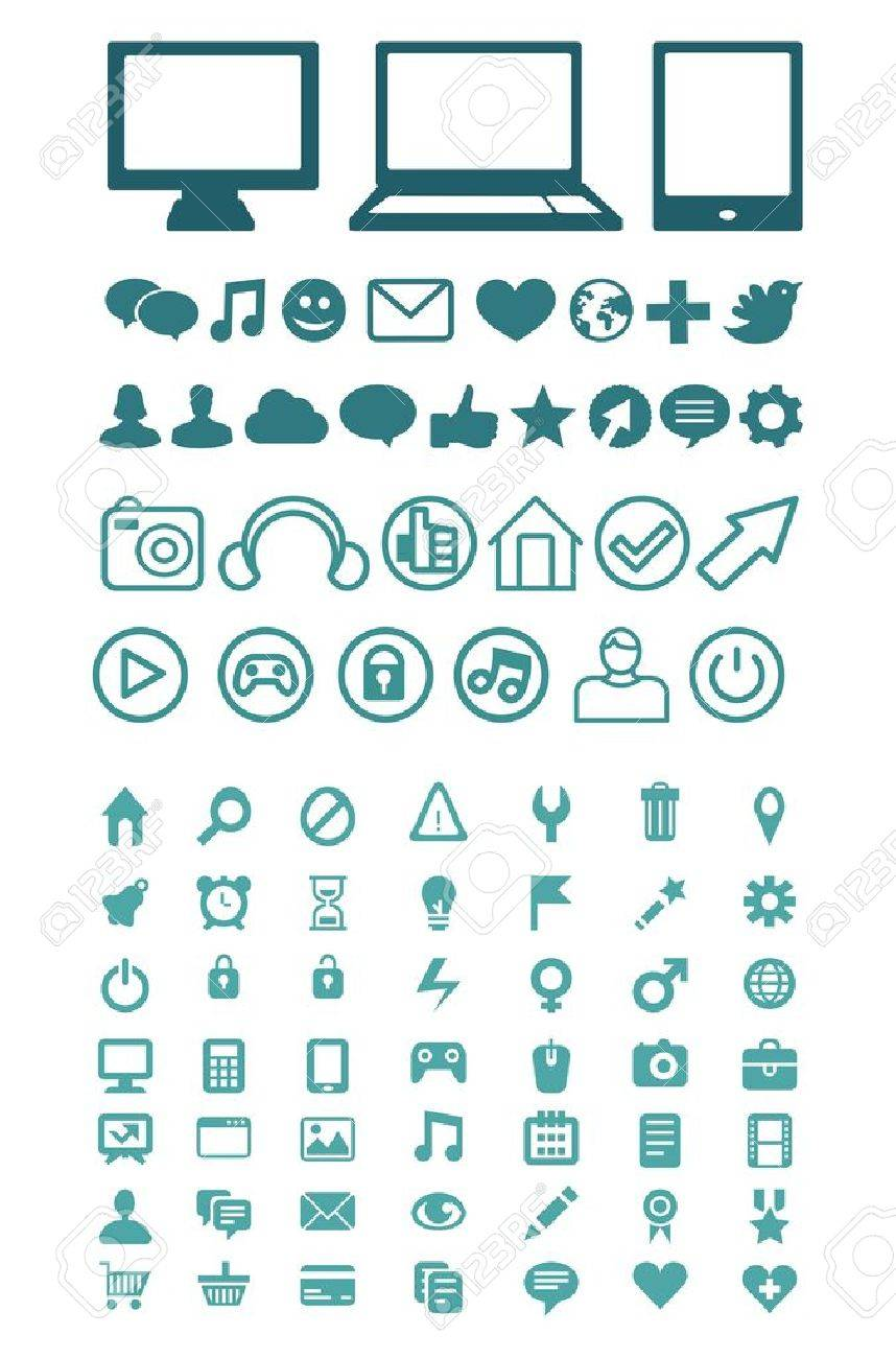 Set of vector technology icons for software, application or websites Stock Vector - 15870078