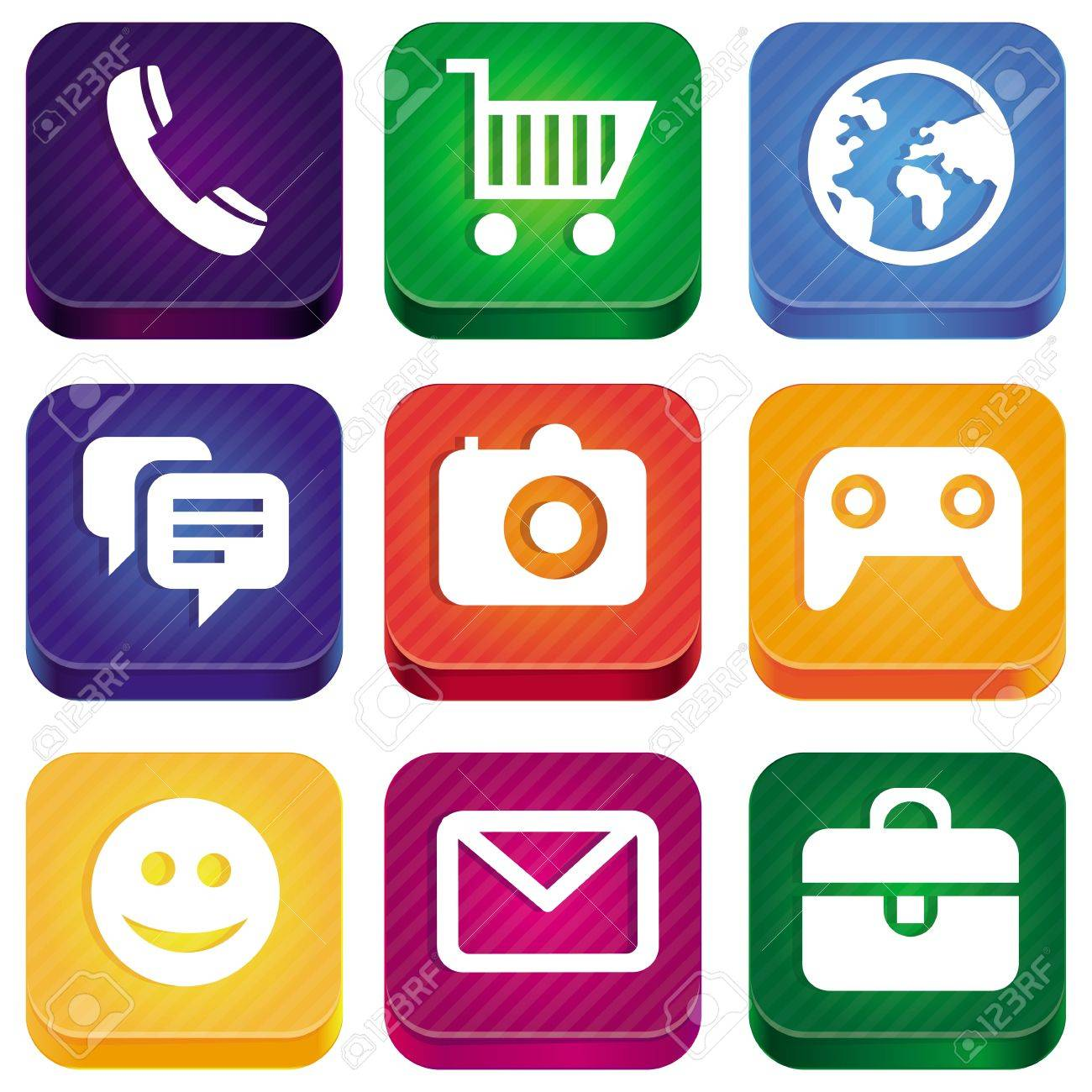 bright app icons - technology pictograms and square buttons Stock Vector - 15968762