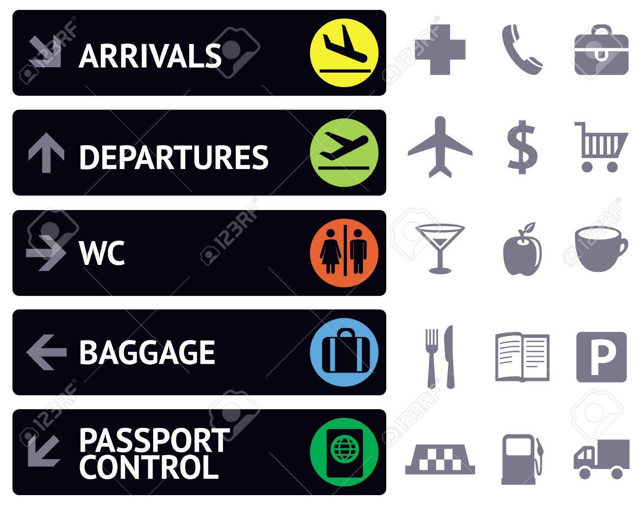collection of icons and pointers for navigation in airport - 16082336