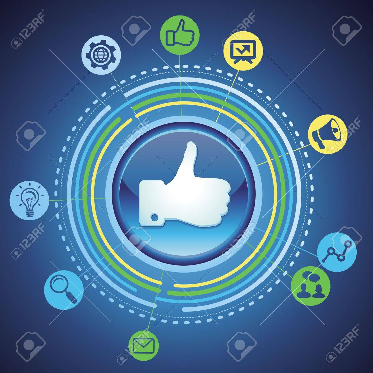 social media concept - marketing icons and like sign Stock Vector - 16082375