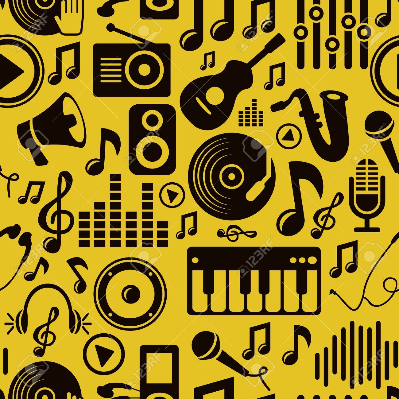 music seamless pattern with icons and pictogram Stock Vector - 16170364