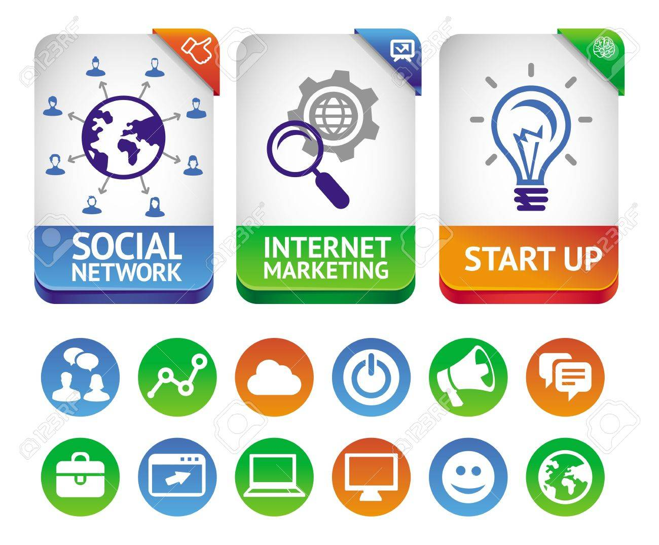 internet marketing labels - abstract design elements and social media icons Stock Vector - 16170606